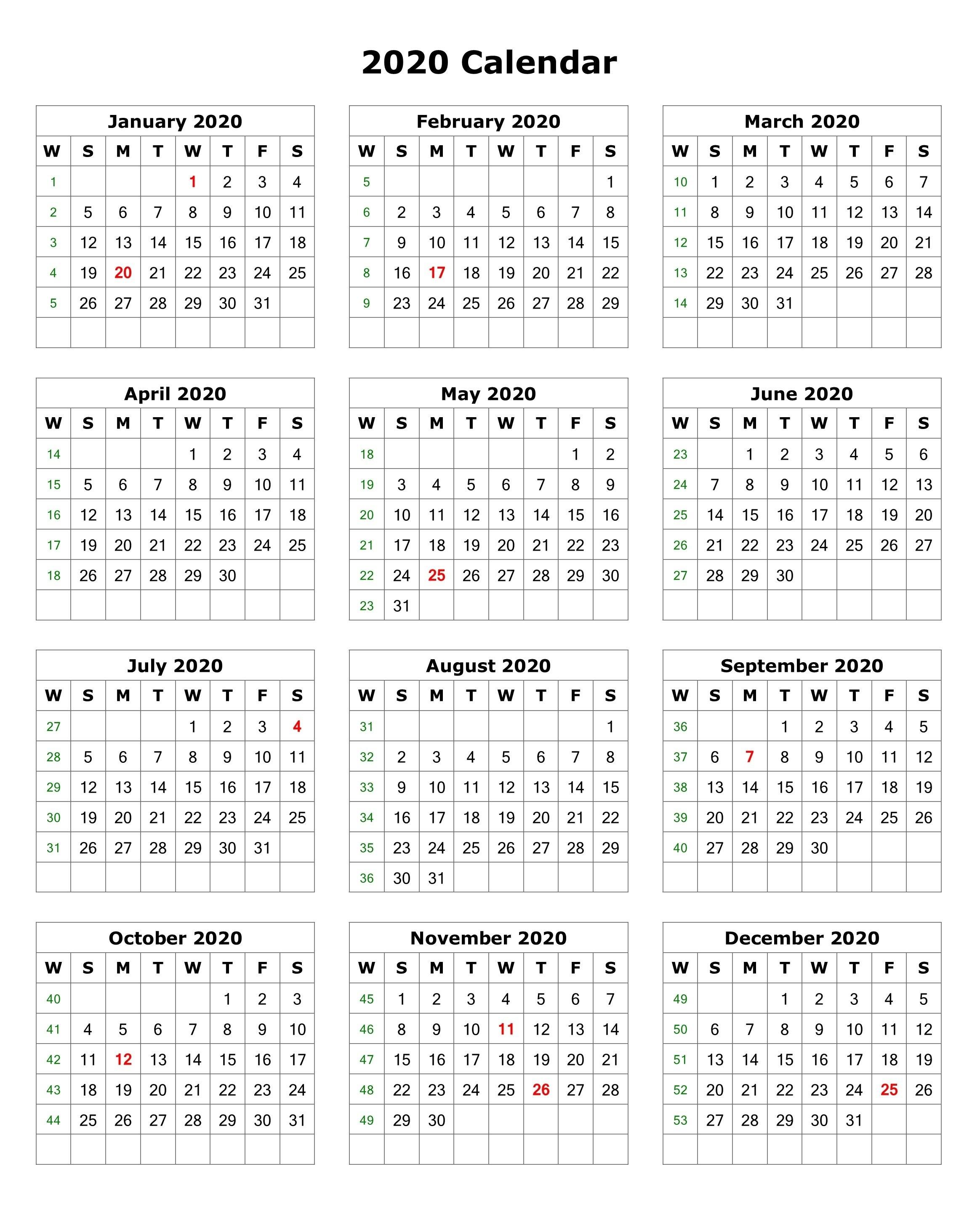 Calendars 2020 Printable 2020 E Page Calendar Printable