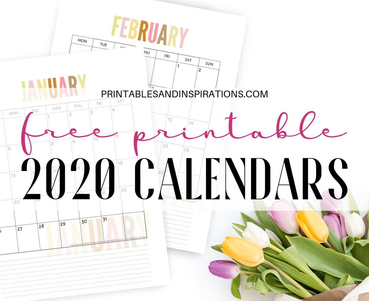 Free 2020 Calendar Printable Planner PDF Printables and