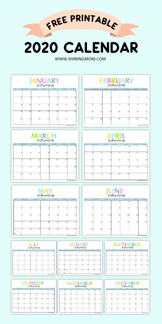 Calendars 2020 Printable Free