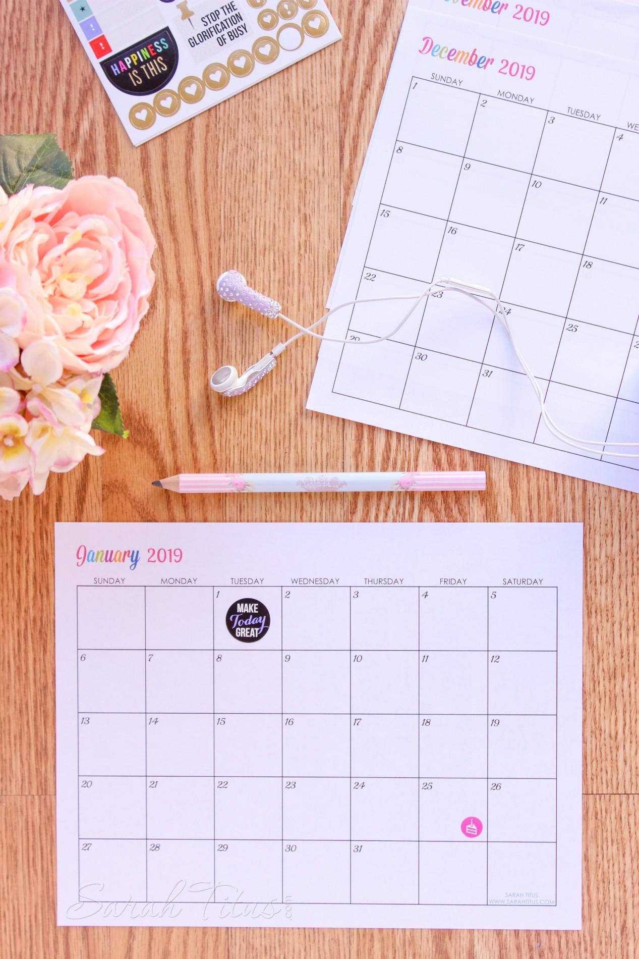 Custom Printable Calendar Custom Editable Free Printable 2019 Calendars Sarah Titus