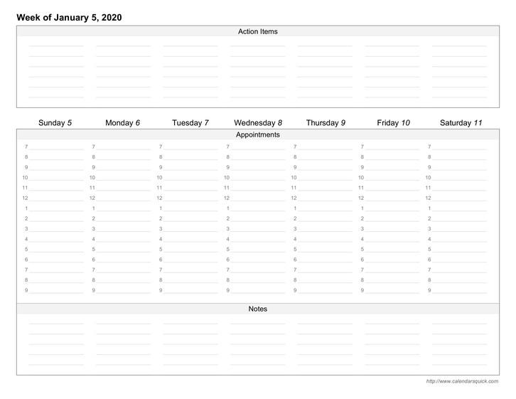 Custom Weekly Printable Calendar CalendarsQuick