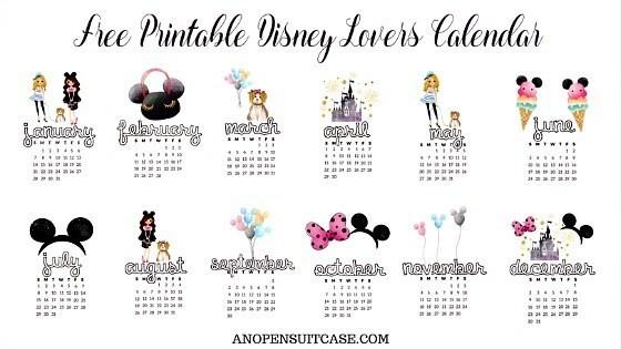 2018 Disney Lovers Calendar Free Downloadable Calendar