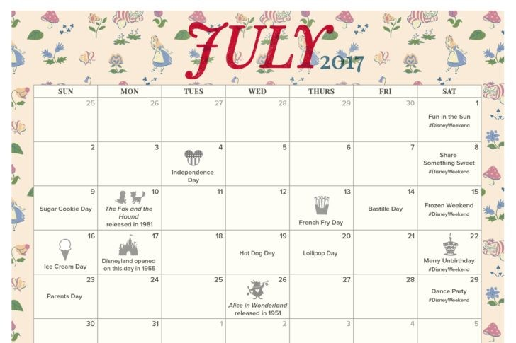 July 2017 Printable Calendar and Coloring Pages