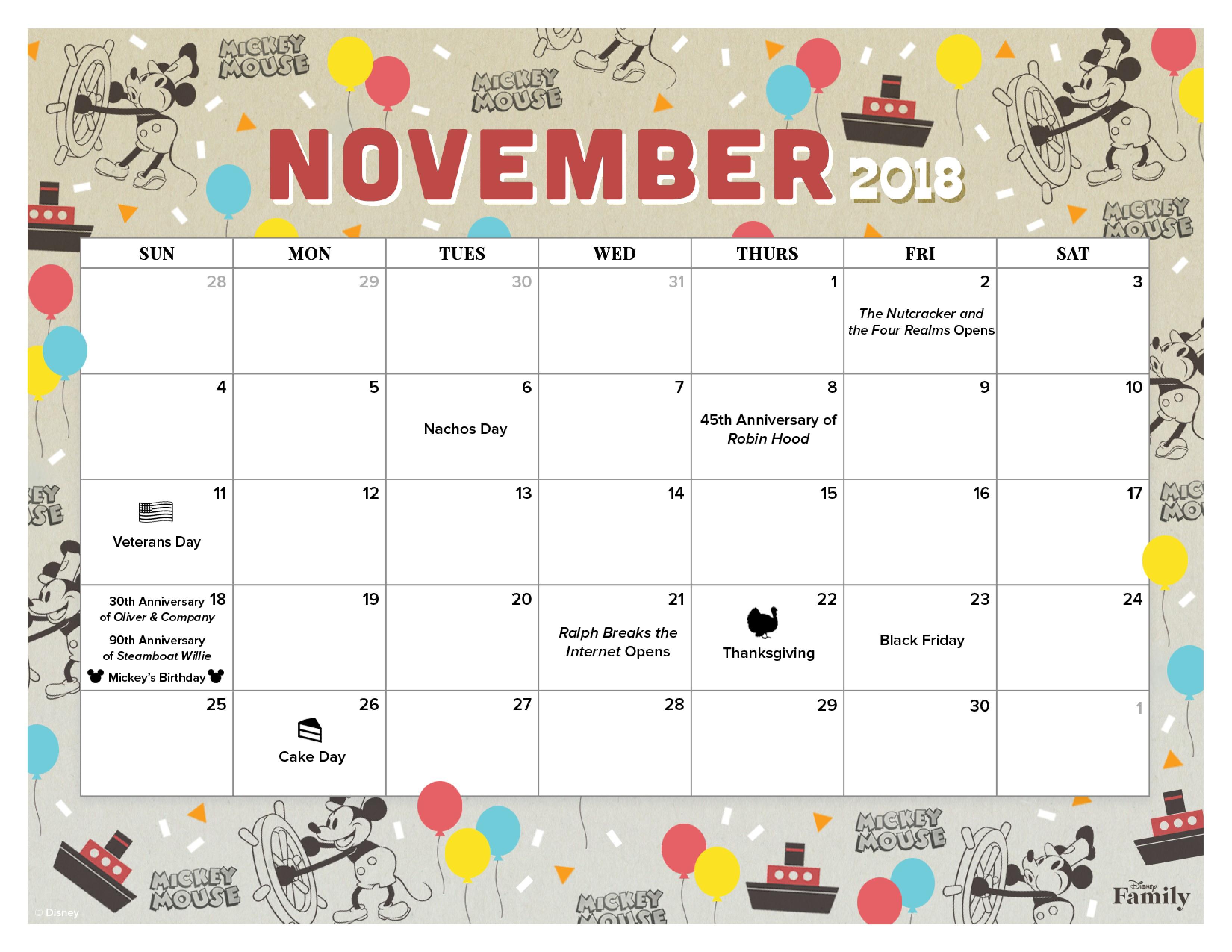 Disney Printable Calendar November 2018 Calendar for the whole Family