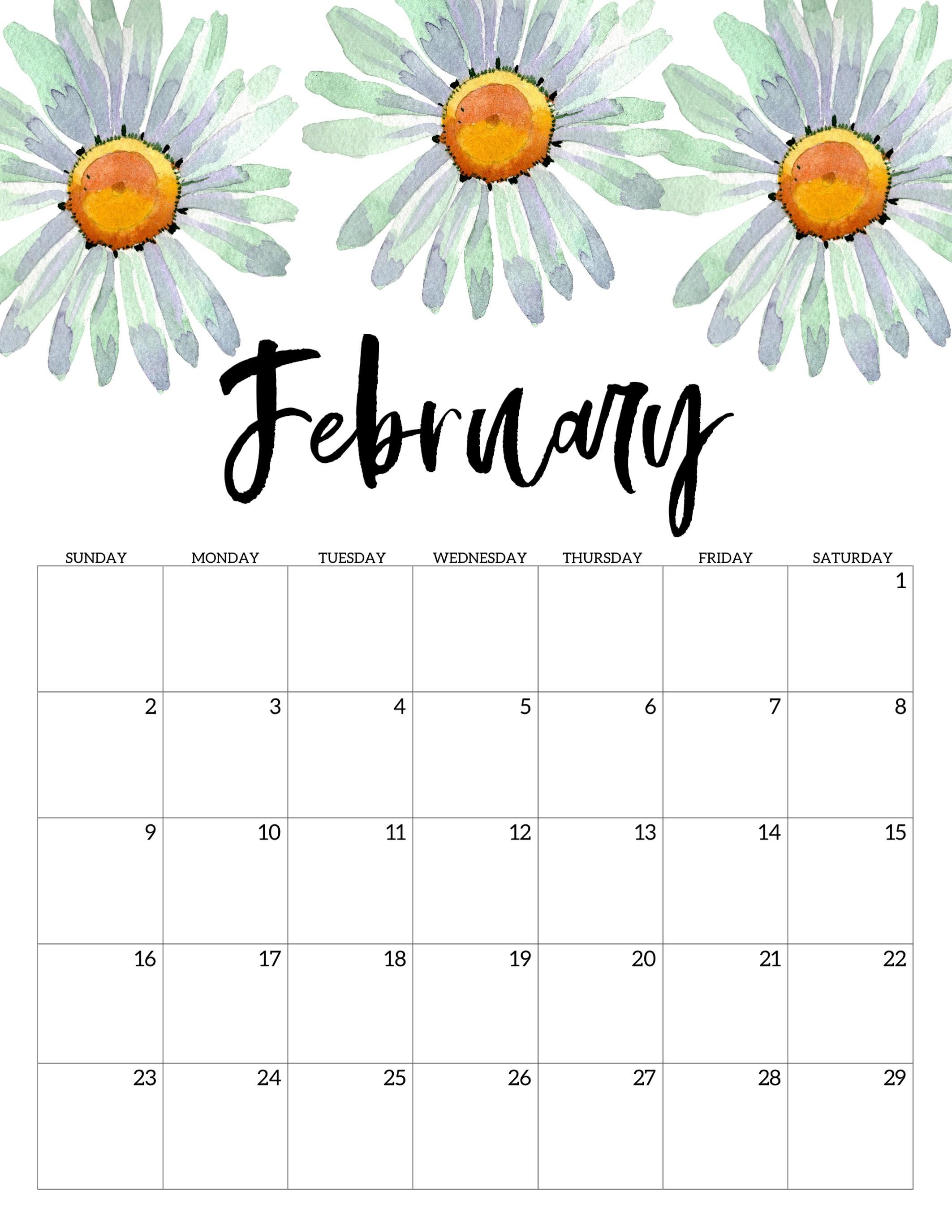 February 2020 Calendar Printable 2020 Free Printable Calendar Floral Paper Trail Design