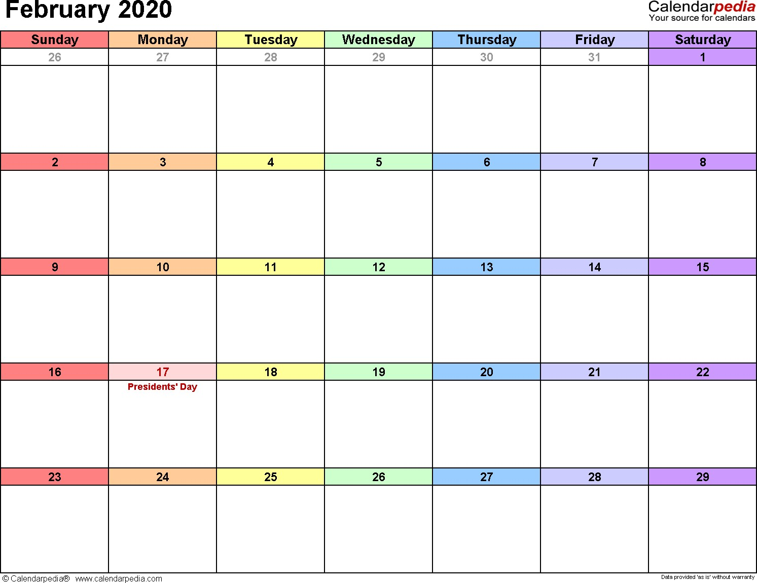 February 2020 Calendars for Word Excel & PDF