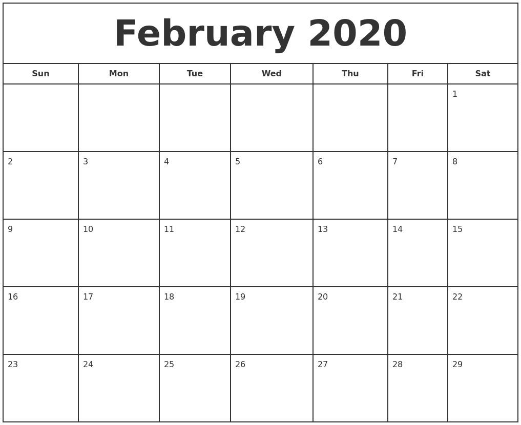 February 2020 Calendar Printable February 2020 Print Free Calendar