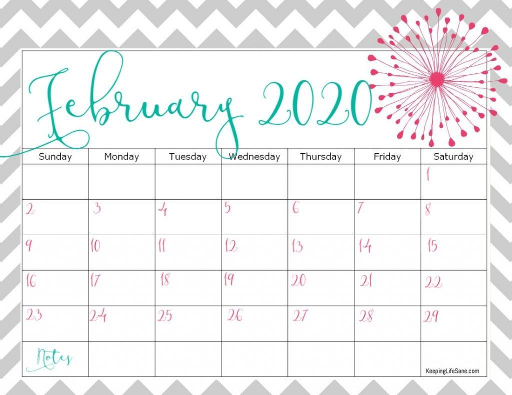 February 2020 Printable Calendar Cute Free 2020 Printable Calendar Keeping Life Sane