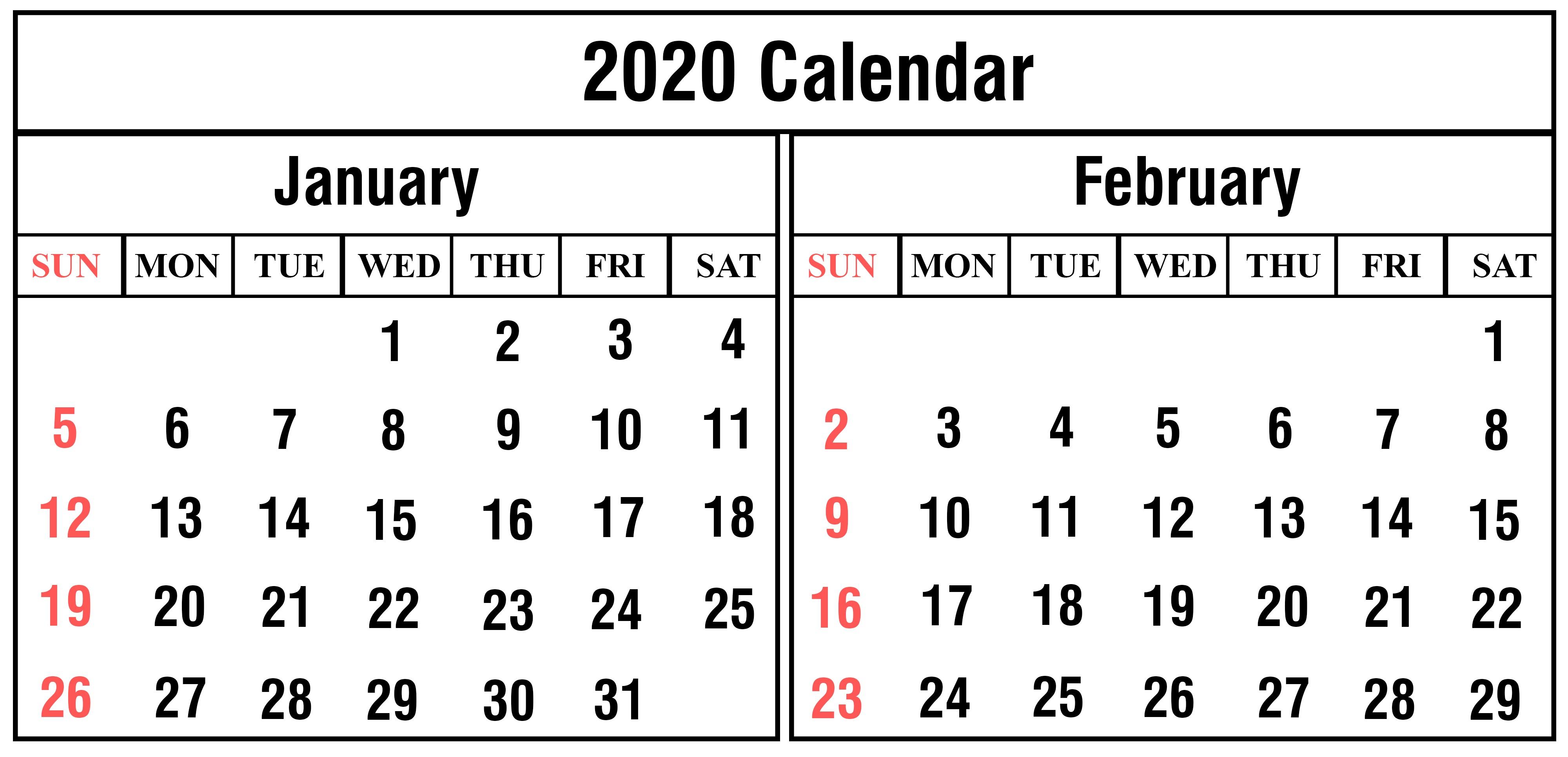 February 2020 Printable Calendar Printable Free January and February 2020 Calendar