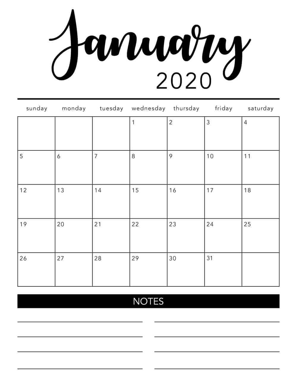 Free 2020 Monthly Printable Calendar