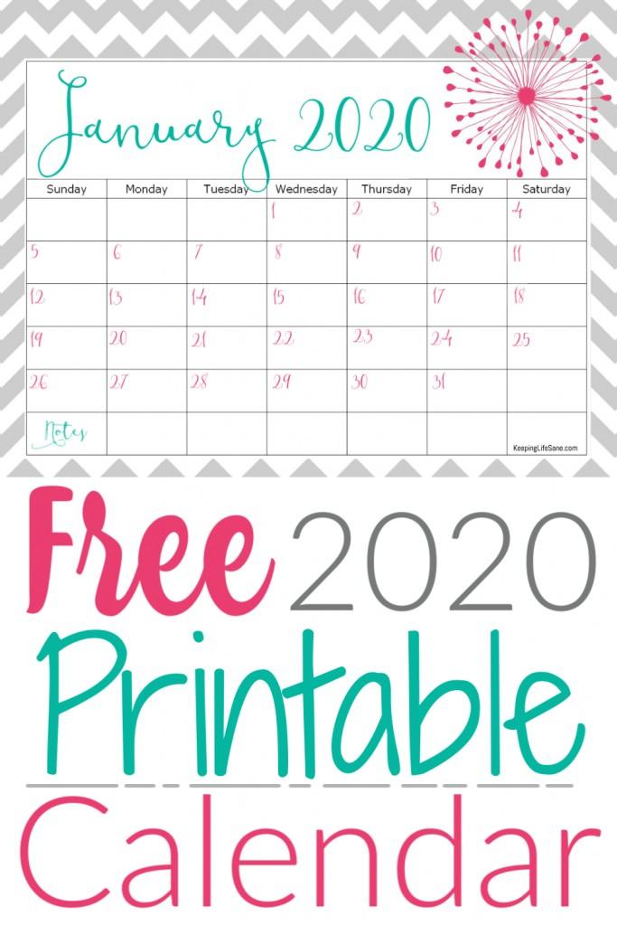 Free 2020 Printable Calendar Cute Free 2020 Printable Calendar Keeping Life Sane