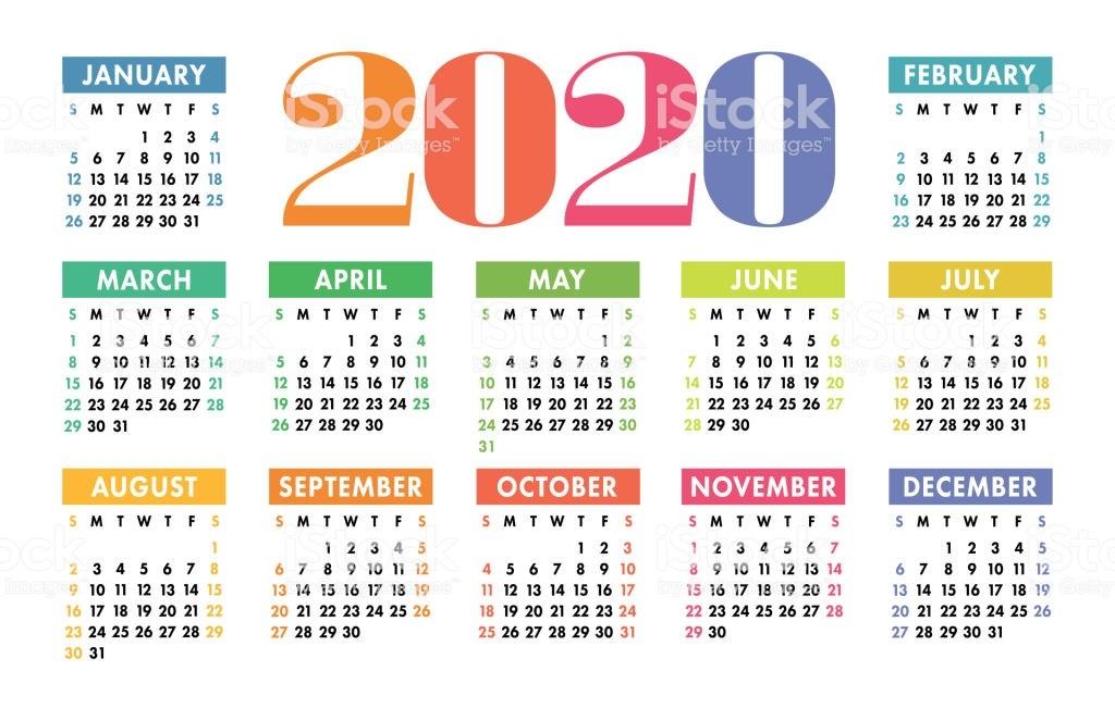 Colorful Calendar 2020 Bright Fun Cute Week Starts
