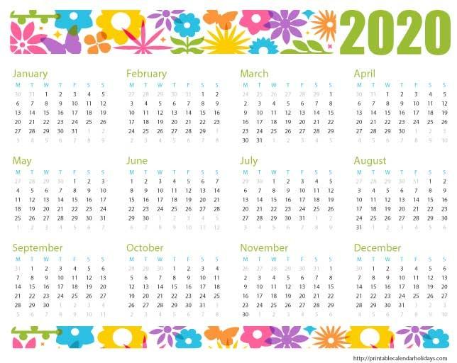 Free Printable 2020 Calendar with Holidays Free Printable Calendar 2020 Printable Calendar Template