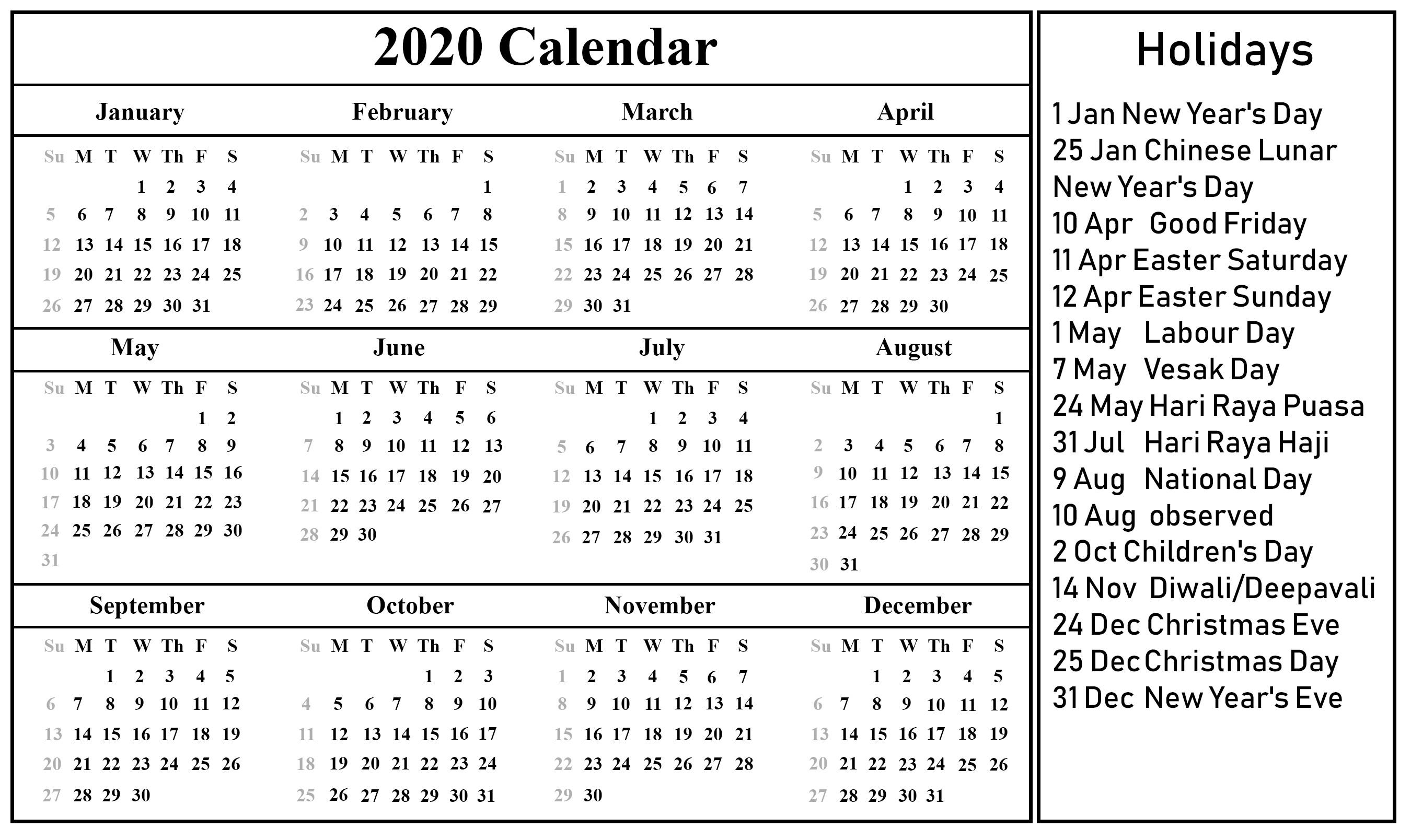 Free Printable 2020 Calendar with Holidays Free Printable Singapore Calendar 2020 Pdf Excel & Word