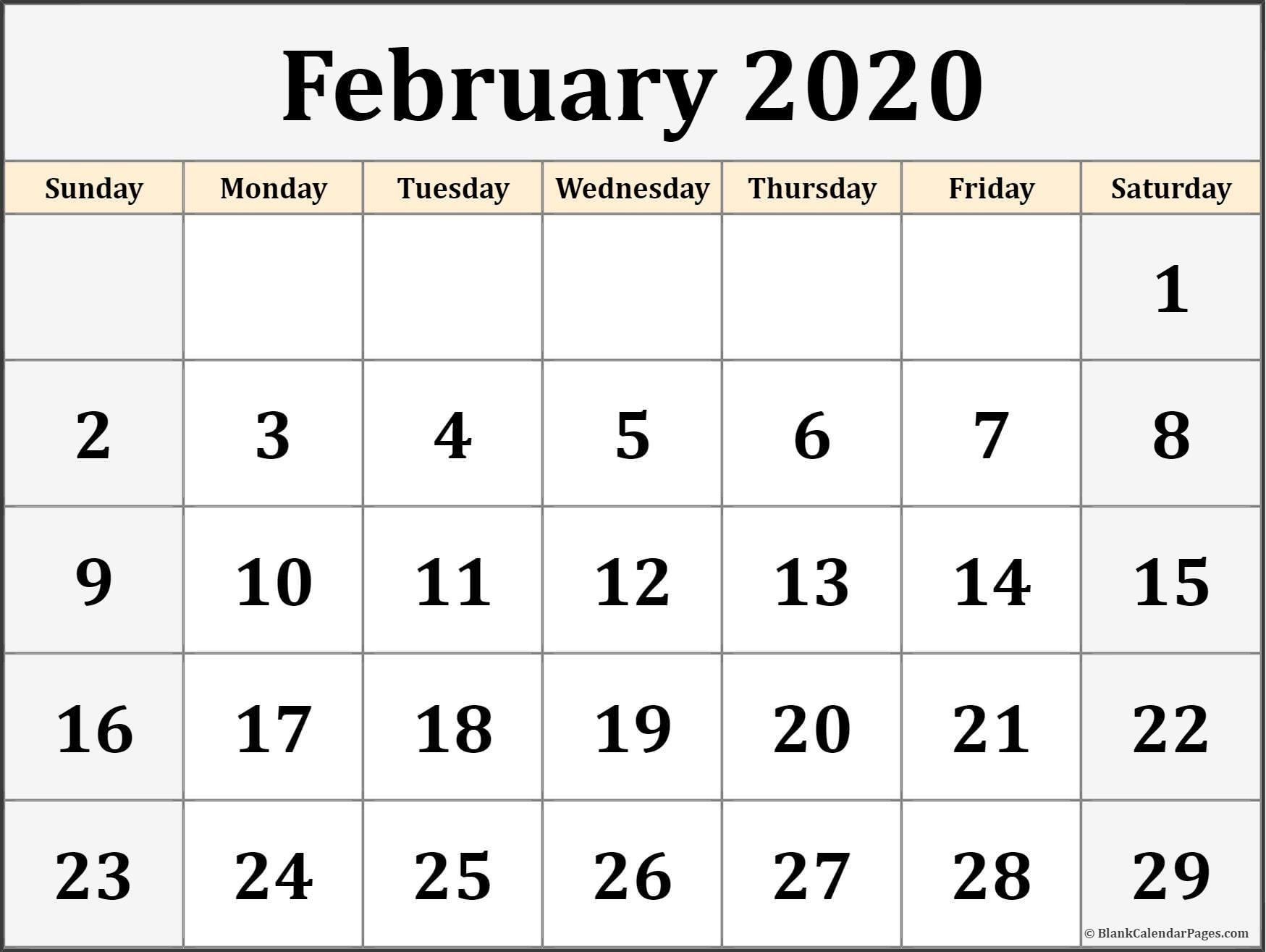 Free Printable 2020 Calendars February 2020 Calendar