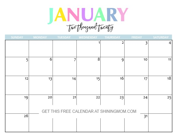 Free Printable 2020 Monthly Calendar with Holidays Free Printable 2020 Calendar so Beautiful & Colorful