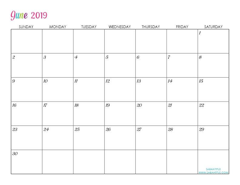 Custom Editable Free Printable 2019 Calendars Sarah Titus