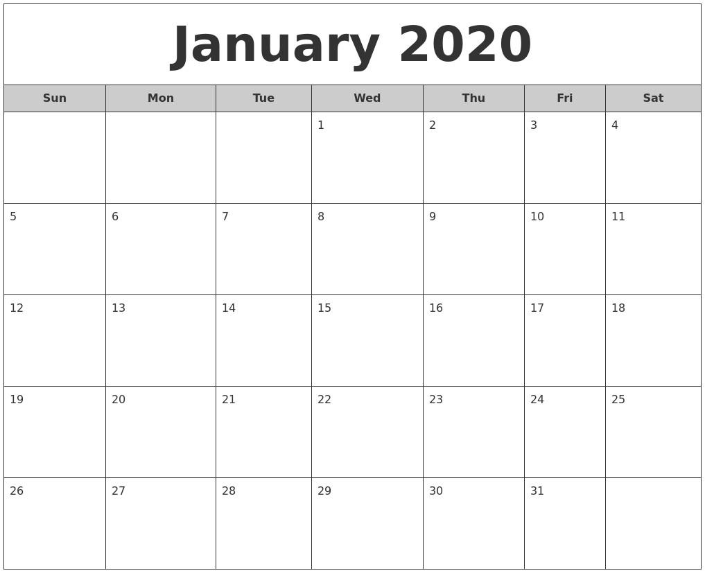 Free Printable Monthly Calendar 2020