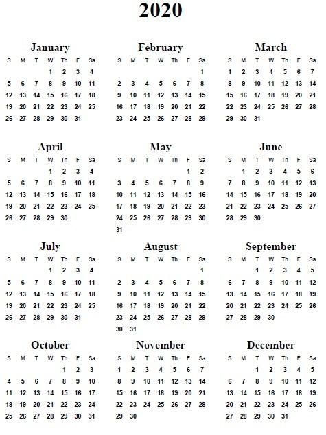 Free Printable Yearly Calendar 2020 Best 2020 Calendar Printable E Page Calendar 2019