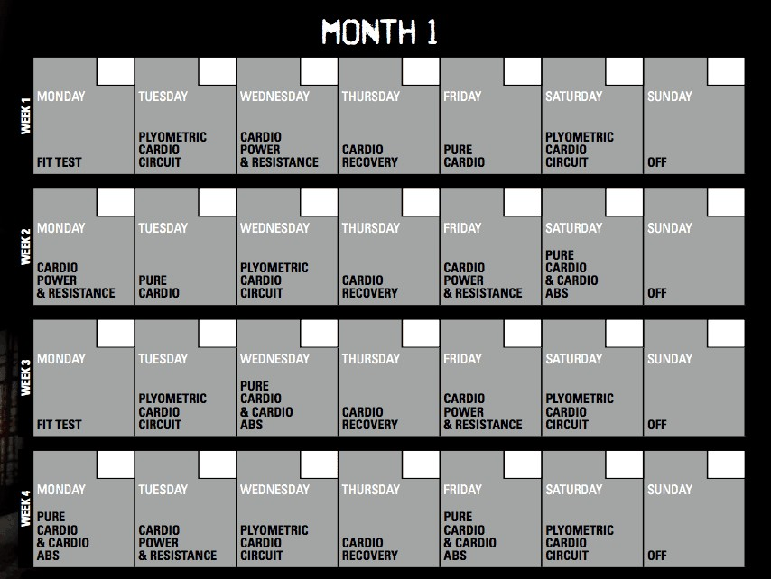Insanity Calendar Printable