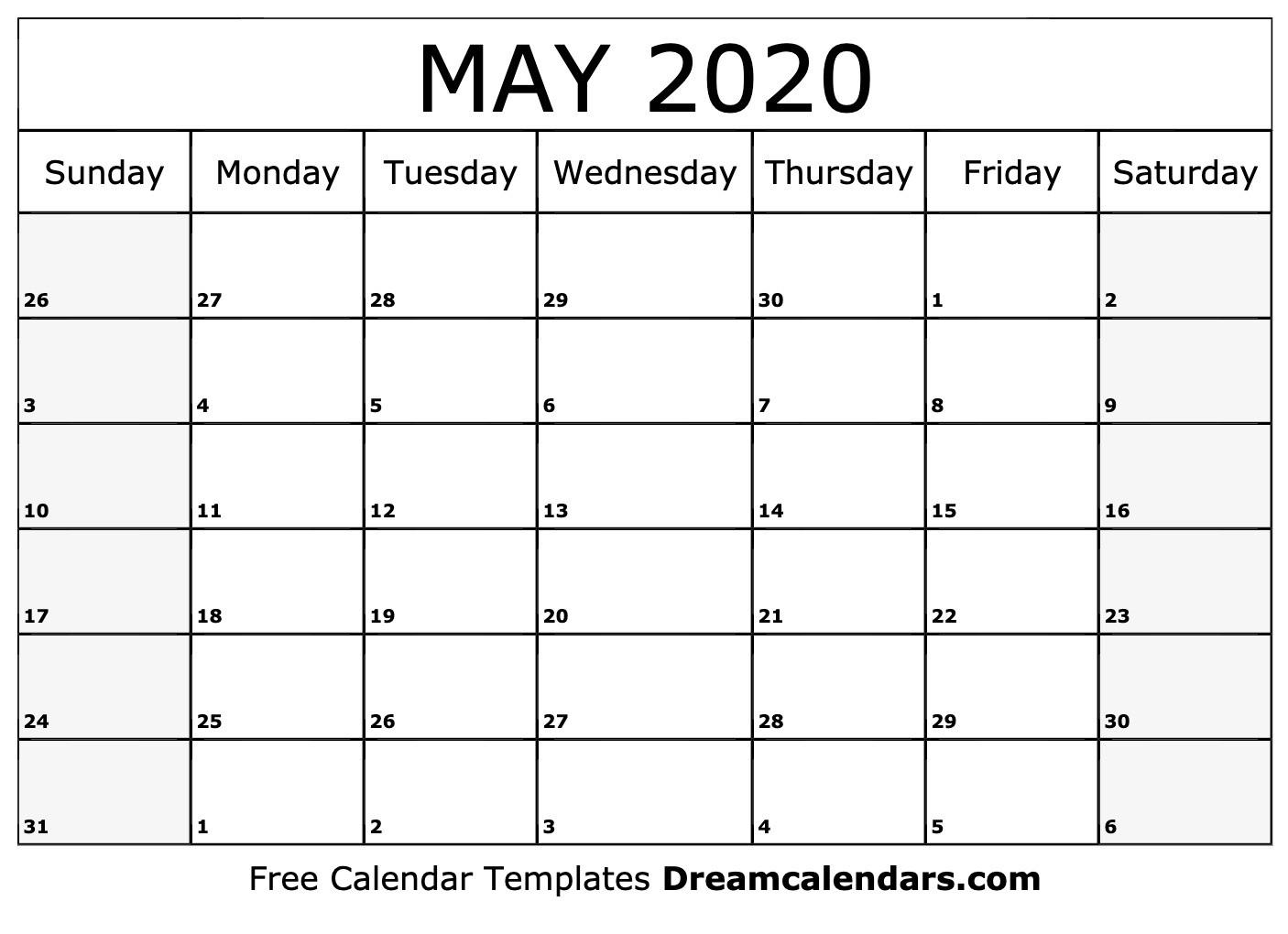 June 2020 Calendar Printable Free Blank May 2020 Printable Calendar