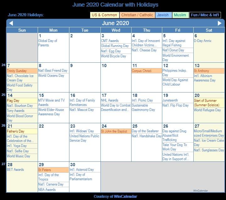 June 2020 Calendar Printable Print Friendly June 2020 Us Calendar for Printing