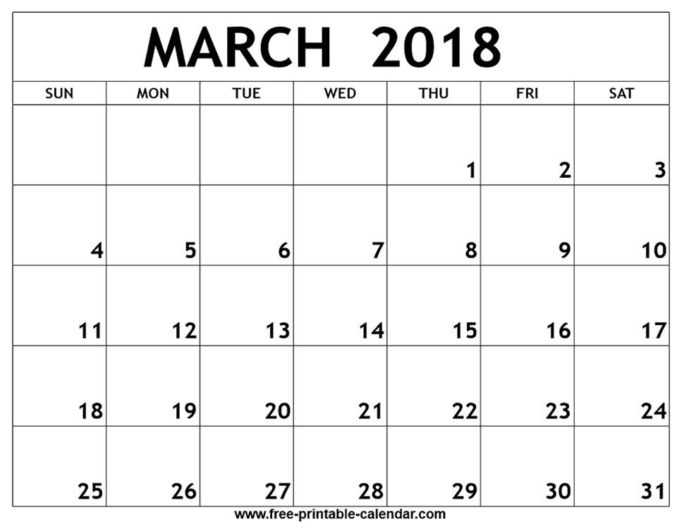 March Printable Calendar March 2018 Printable Calendar