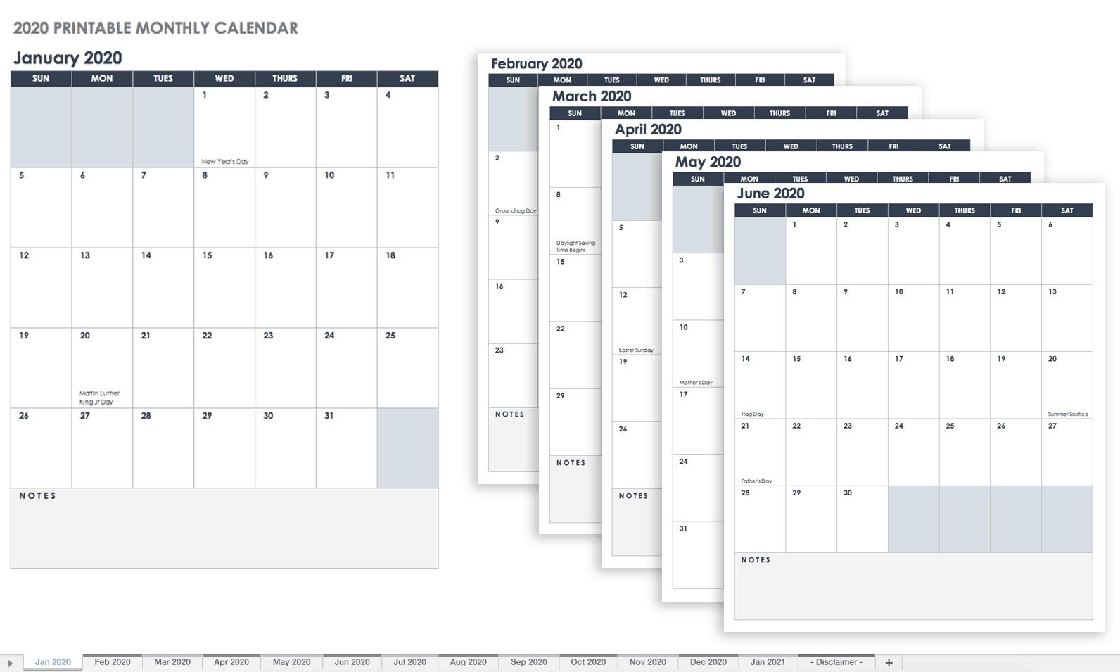 Monthly Calendar 2020 Printable Free Excel Calendar Templates