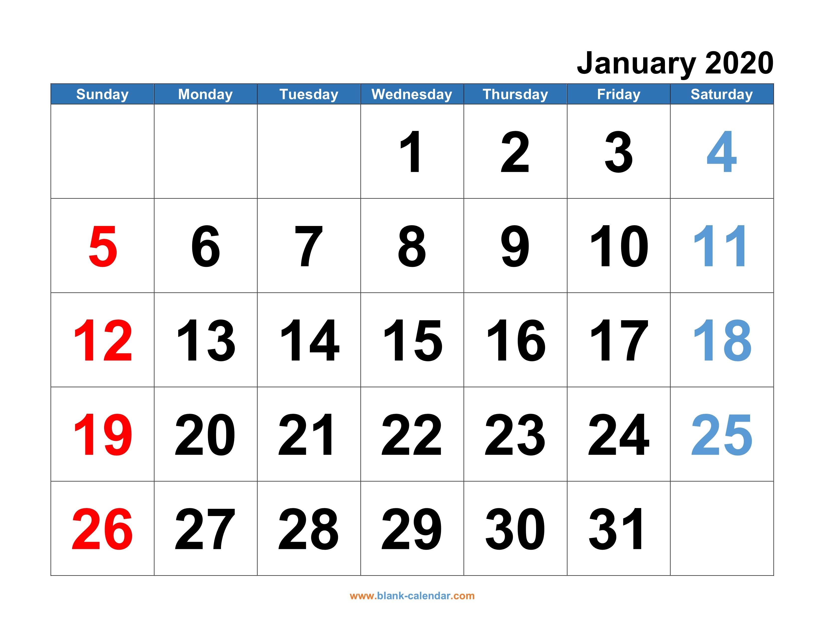 Monthly Printable Calendar 2020 Monthly Calendar 2020