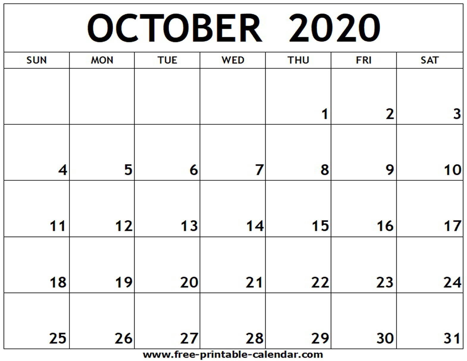 October 2020 Calendar Printable October 2020 Printable Calendar Free Printable Calendar