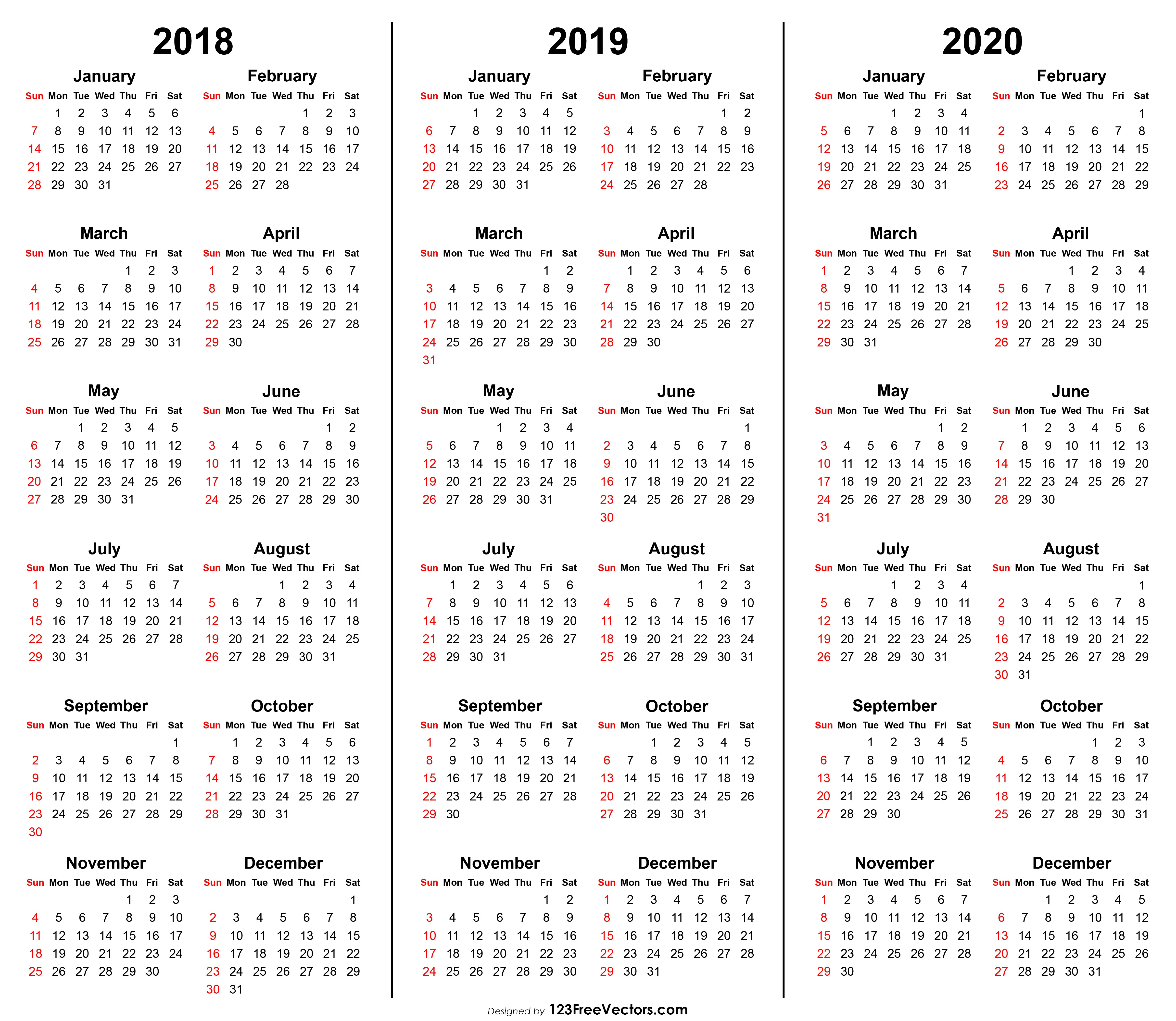 Printable 2020 Calendar 3 Year Calendar 2018 2019 2020 Printable