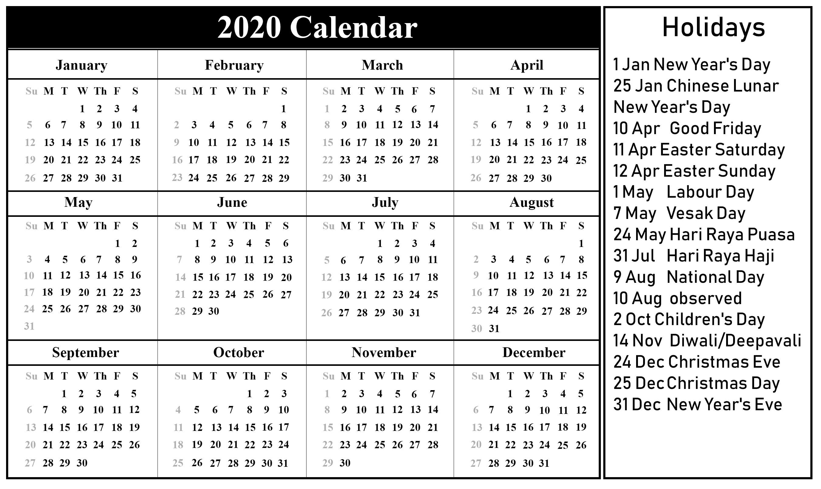 Printable 2020 Calendar Free Download Singapore 2020 Calendar Pdf & Excel & Word