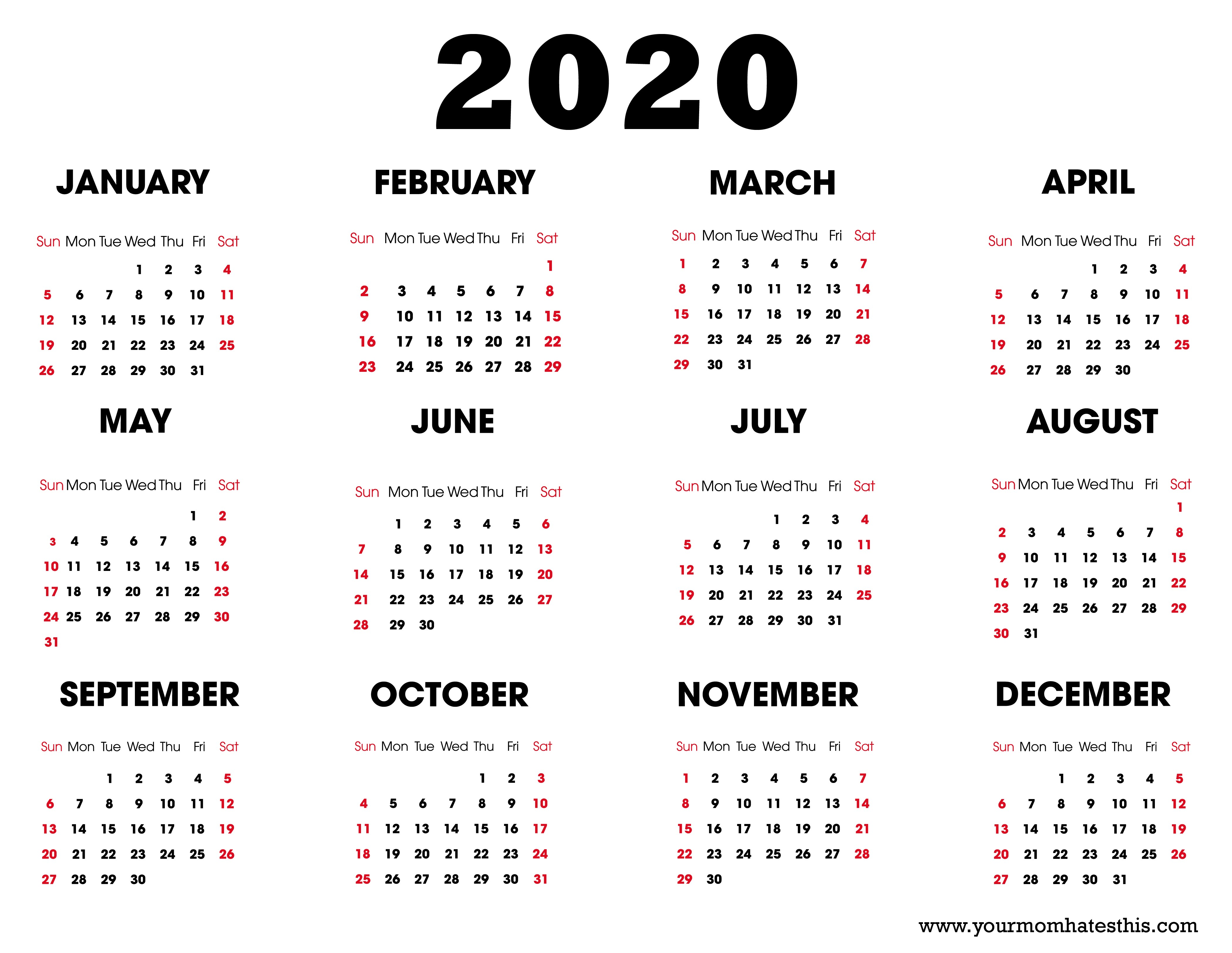 Printable 2020 Calendars