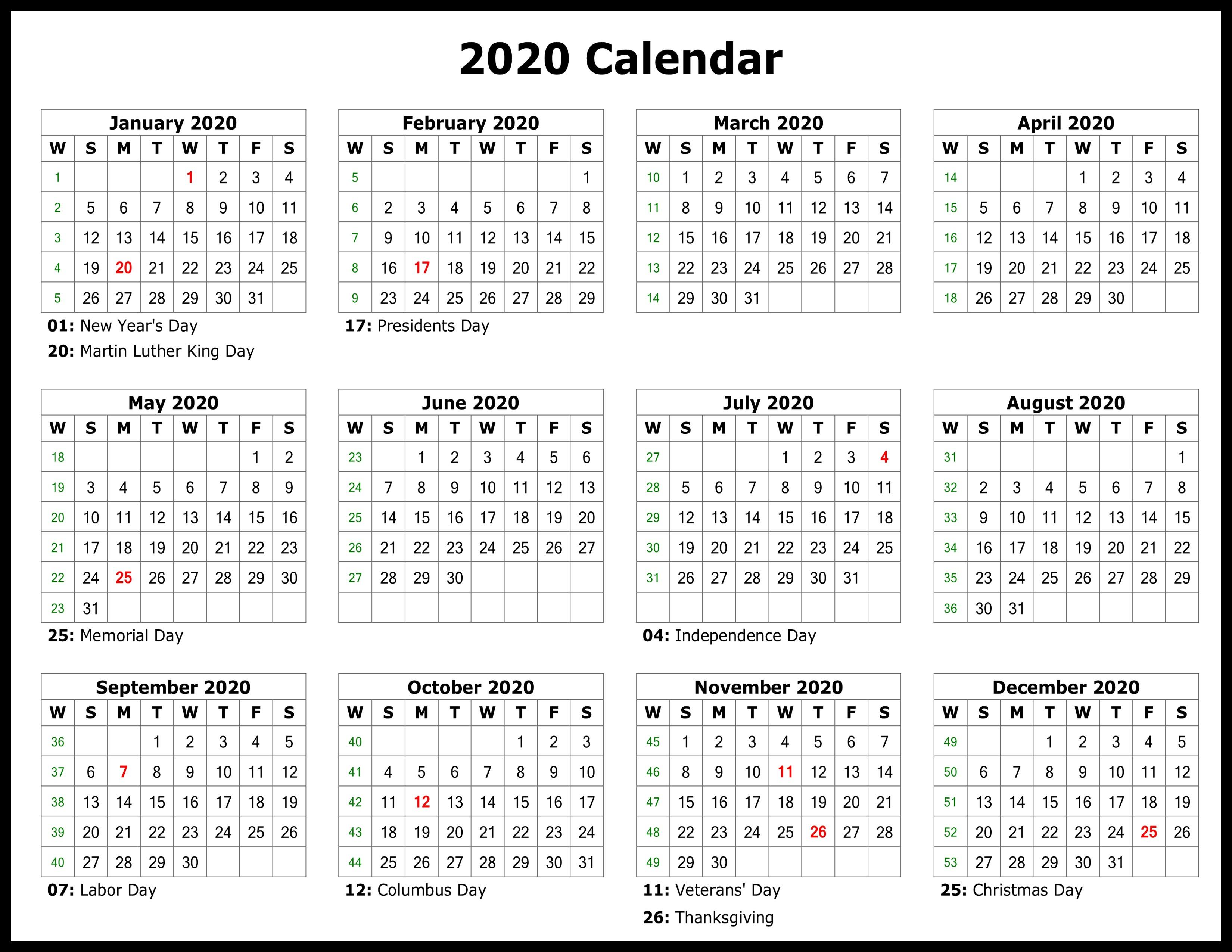 Printable 2020 Calendars Printable Template Calendar