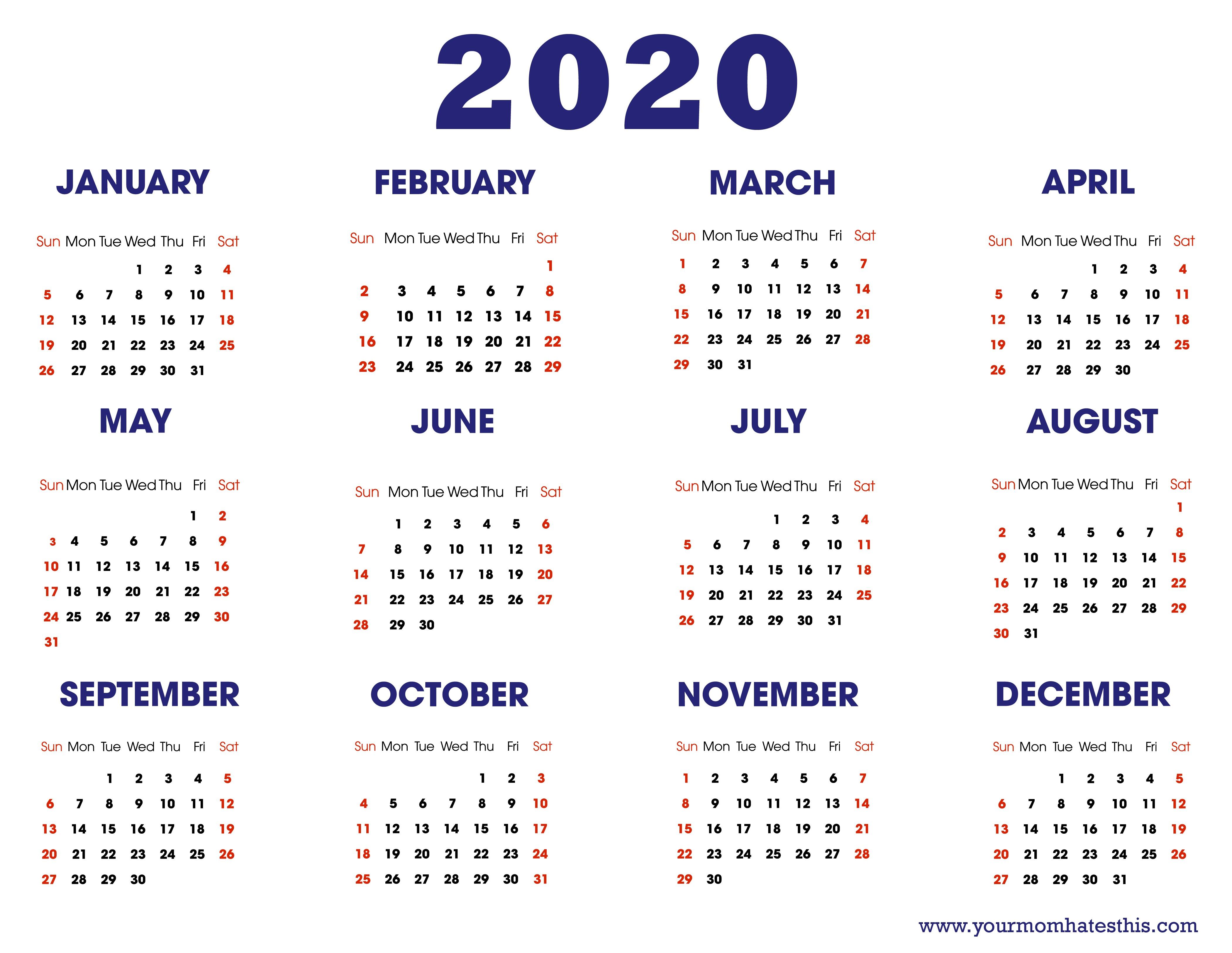 Printable Blank Calendar 2020 2020 Calendars In Pdf Download Templates Of Calendar 2020