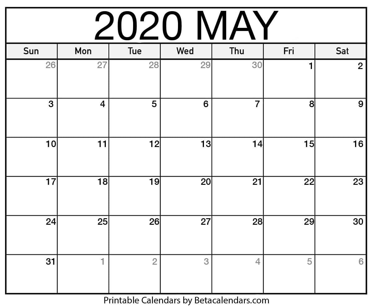 Blank May 2020 Calendar Printable Beta Calendars