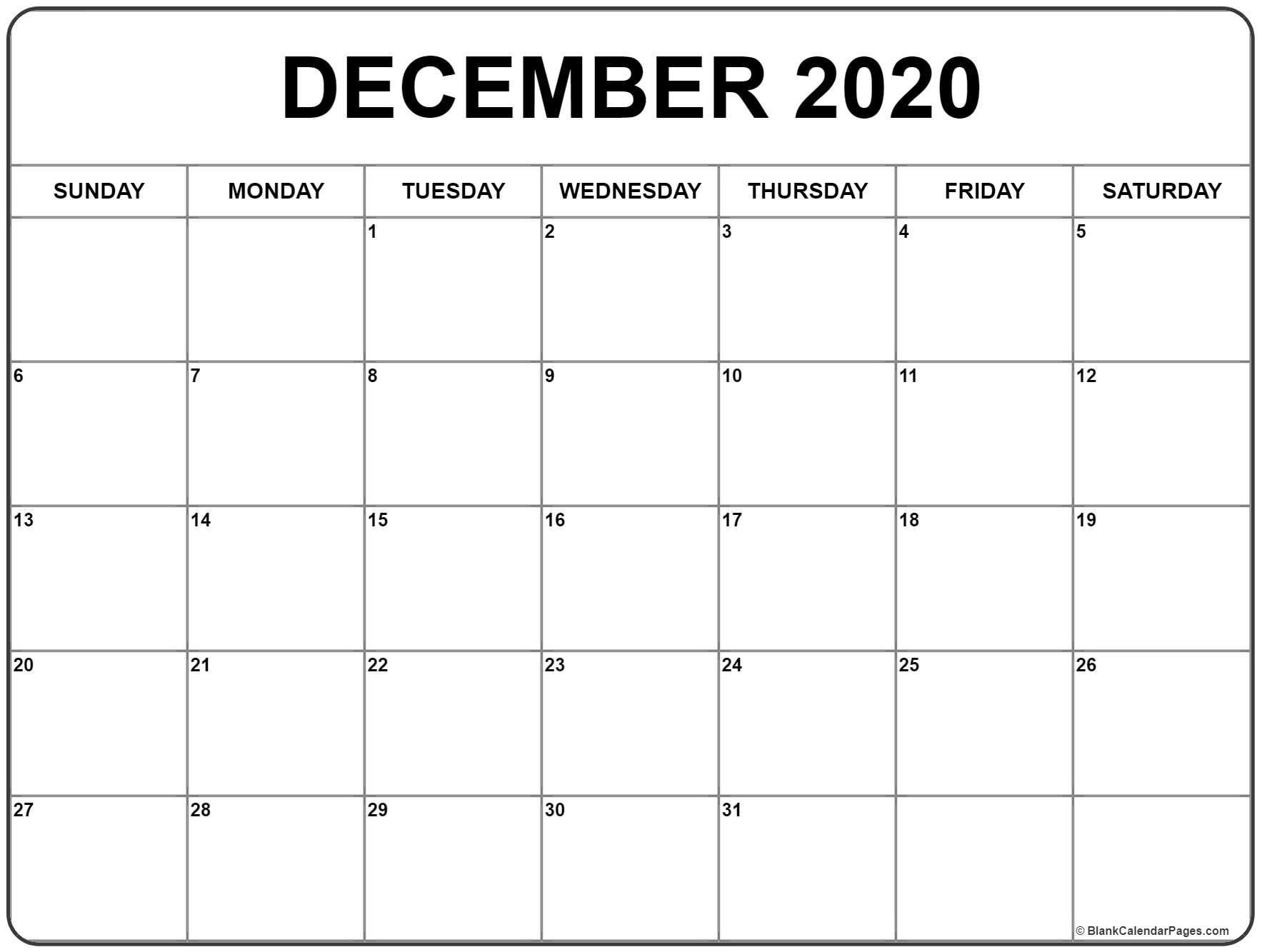 Printable Blank Calendar 2020 December 2020 Calendar
