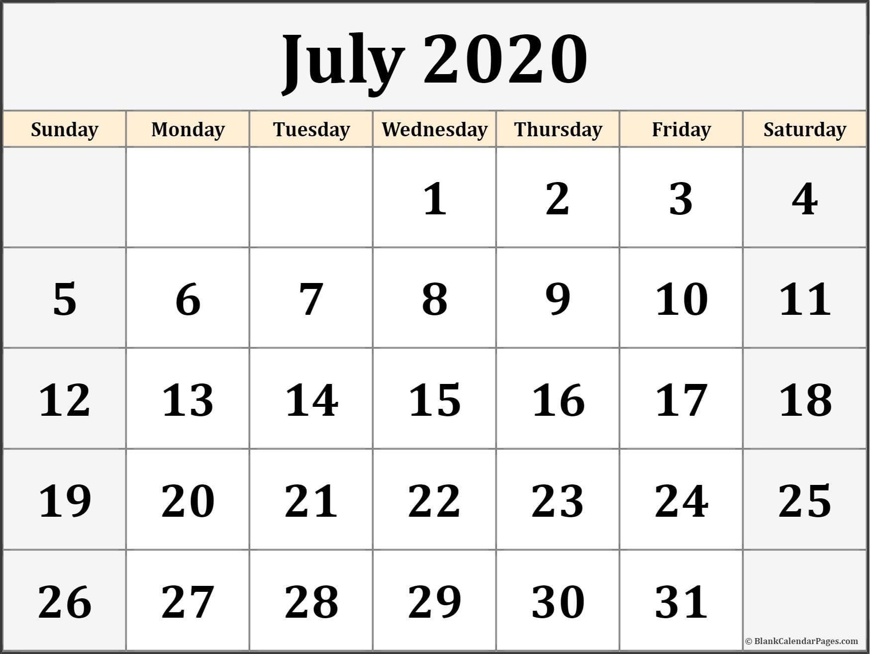Printable Blank Calendar 2020 July 2020 Calendar