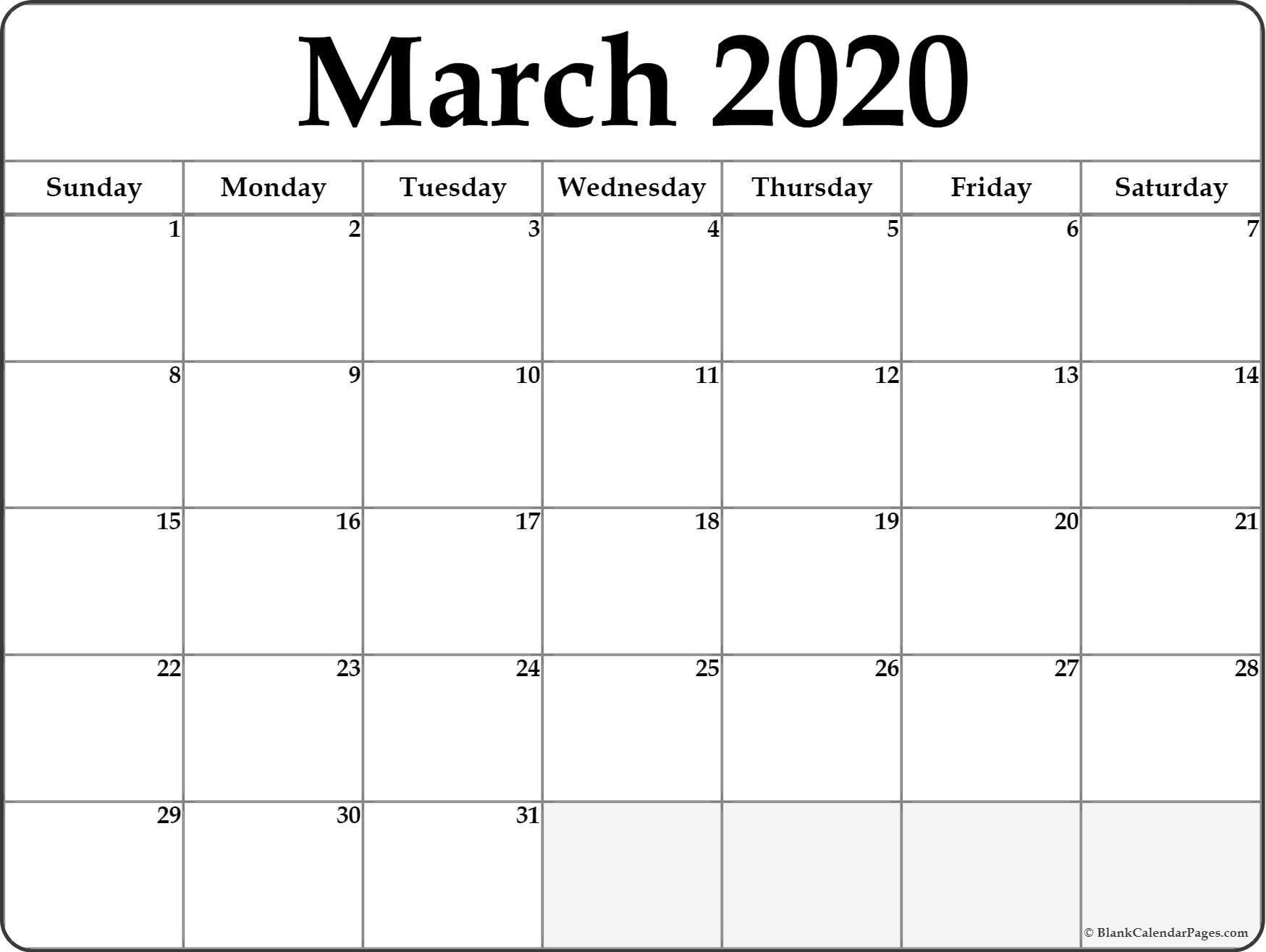 Printable Blank Calendar 2020 March 2020 Blank Calendar Templates