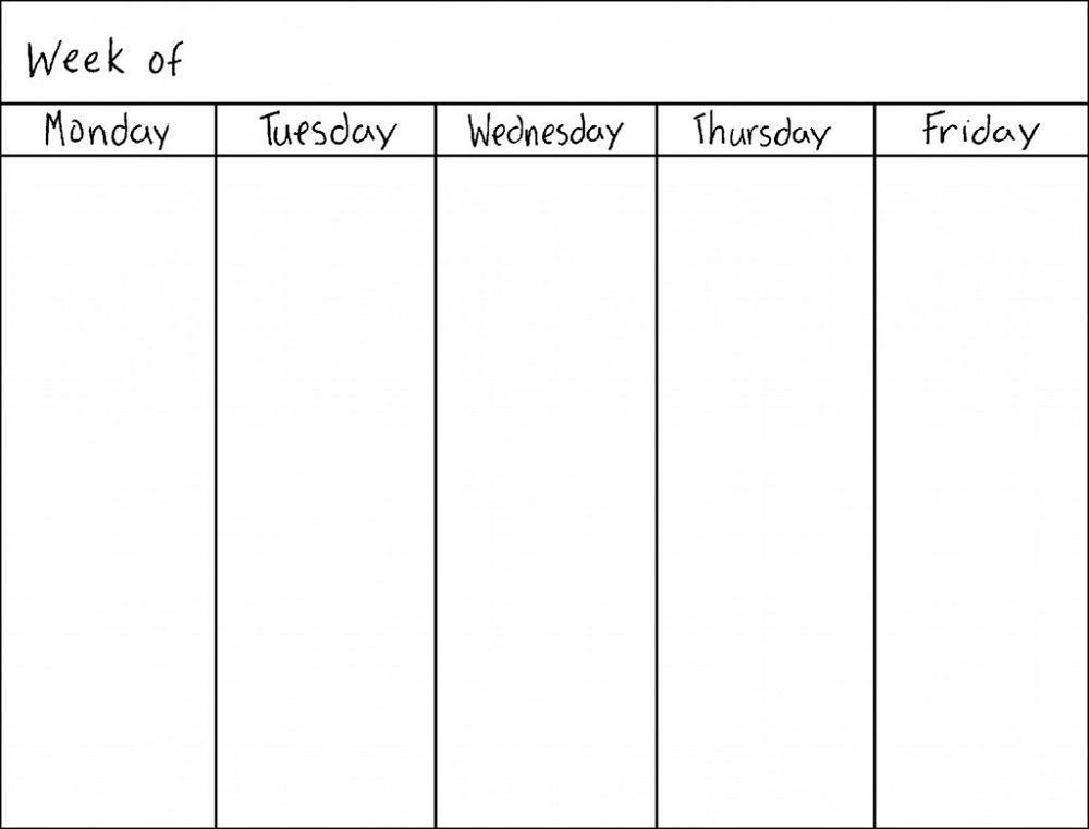 Blank Weekly Calendars Printable