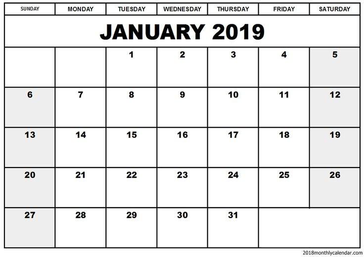 Blank January 2019 Calendar Template January2019