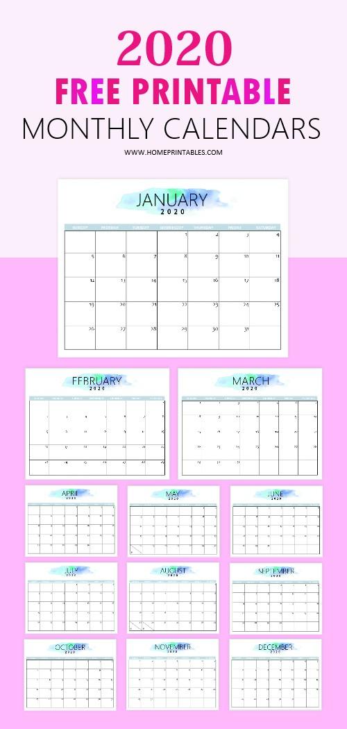 Printable Calendar 2020 Free Free 2020 Calendar Printable Simple and Very Pretty