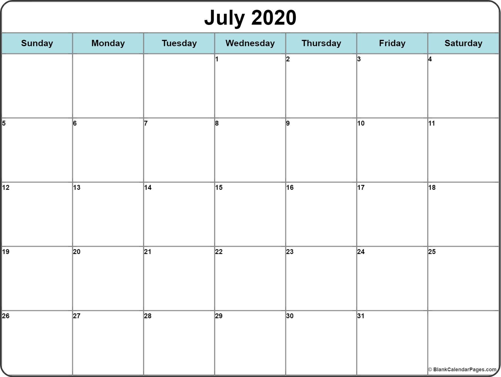 Printable Calendar 2020 Free July 2020 Calendar