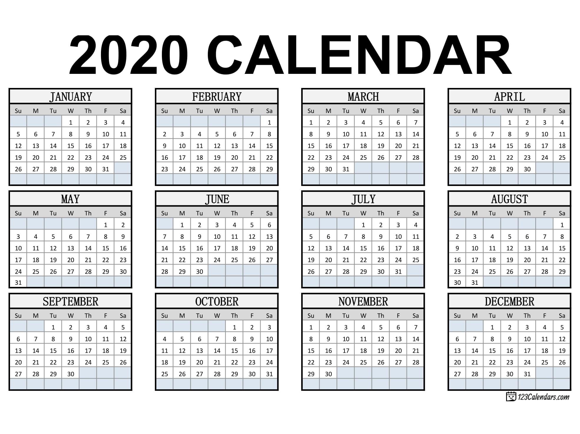 Printable Calendar 2020 Free Printable Year 2020 Calendar