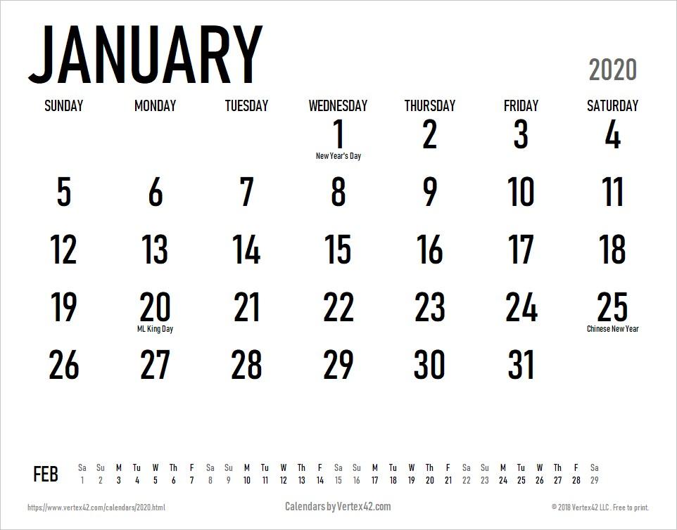 Printable Calendar for 2020 2020 Calendar Templates and