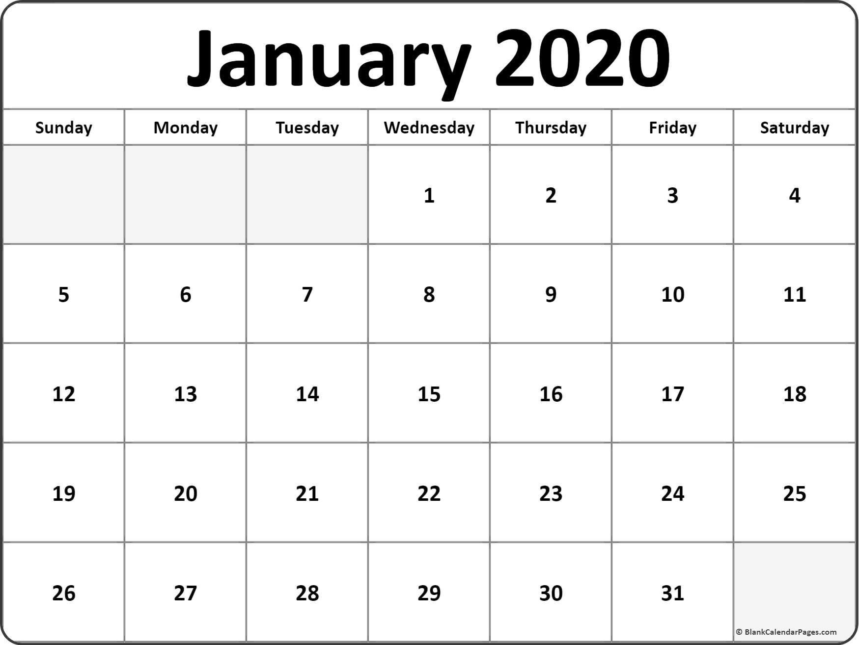 Printable Calendar for 2020 January 2020 Blank Calendar Templates