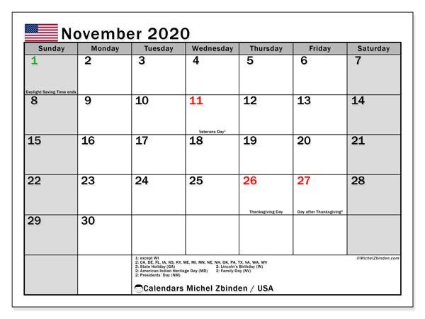 November 2020 Calendar USA Michel Zbinden EN