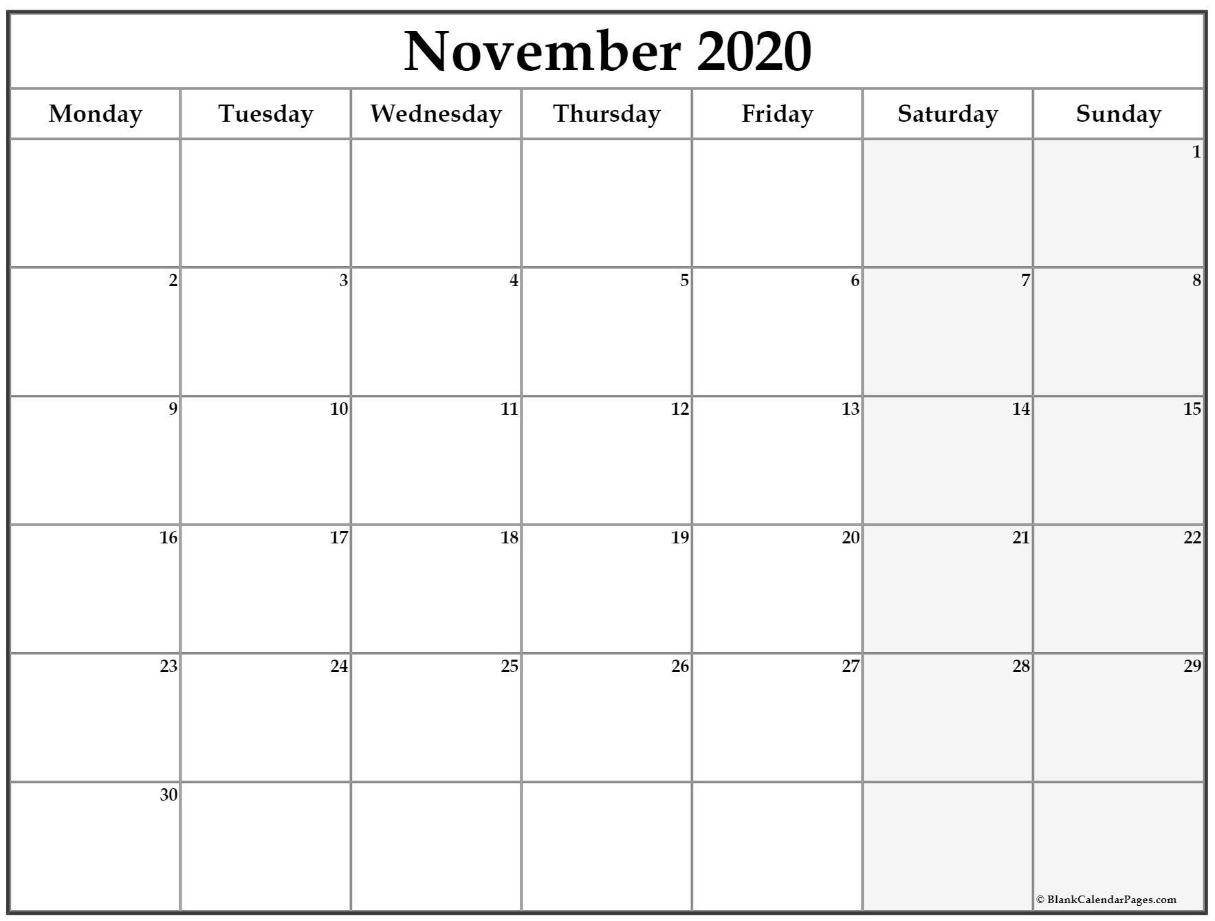 Printable Calendar November 2020 November 2020 Monday Calendar
