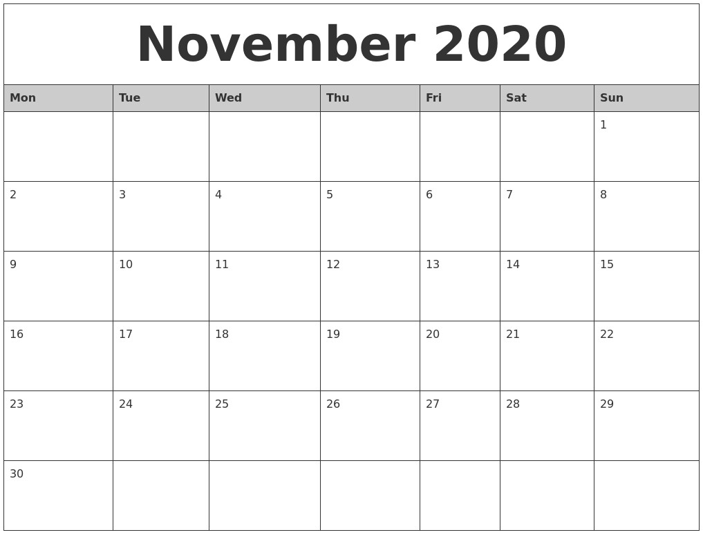 Printable Calendar November 2020 November 2020 Monthly Calendar Printable