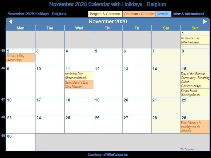 Printable Calendar November 2020 Print Friendly November 2020 Belgium Calendar for Printing